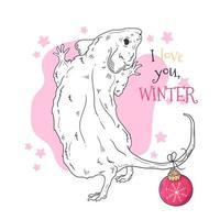 Retrato dibujado a mano de rata en vector de accesorios de Navidad.