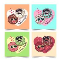 Hand drawn donuts with funny masks on greeting card for Valentines day Vector. vector