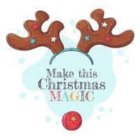 divertidos cuernos navideños de renos y un vector de nariz roja.