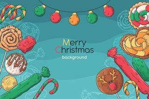 Hand drawn christmas background vector. vector