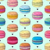 Hand drawn pattern french dessert macaroons Vector. vector