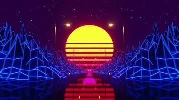 Retro-Wellen-Skyline-Szene mit Neonlichtern und Low-Poly-Territorium. ideal für Foundation, vdj. eingekreiste Lebendigkeit. video