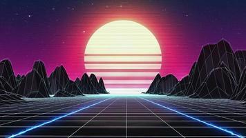Retrowave-Skyline-Szene mit Neonlichtern und Low-Poly-Territorium. 80er Jahre Retro-Stiftung Kreis Lebendigkeit. Retro-Futurismus-Hintergrund. 3D-Rendering. Retro-Wellen-Skyline-Szene, Neonlichter. konsistenter Kreis video