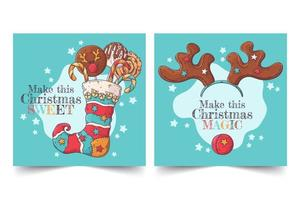 Hand drawn Christmas greeting cards vector. vector