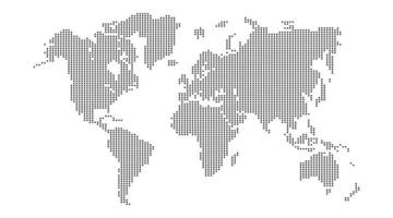 Dotted world map mosaic texture vector