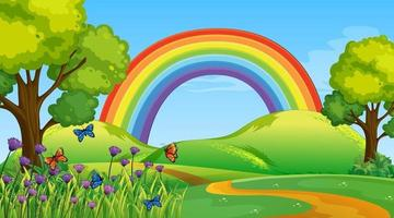 Nature park scene background with rainbow in the sky vector