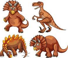Set of brown dinosaur cartoon character vector