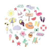 Set of colorful summer vacation doodles. Collection clothes, accessories, food and drinks isolated on white background. Vector illustration in cartoon style for postcard, poster, sticker, packiging, fabric etc