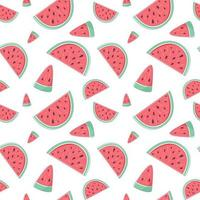 Summer seamless pattern with slices of watermelon. Endless texture with sliced juicy watermelon. Vector illustration in cartoon trendy style with strokes
