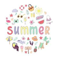 Set of colorful summer vacation doodles and lettering. Collection of clothes, accessories, food and drinks isolated on white background. Vector illustration in cartoon style for postcard, poster, sticker, packiging, fabric etc
