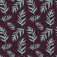 Summer seamless pattern with a branch of a palm tree on a dark background. Endless texture with tropical plant element. Trendy vector illustration in cartoon style.