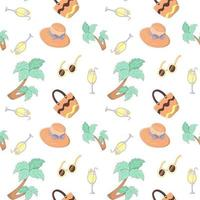Summer vacation seamless pattern with hat, sunglasses, cocktail, palm tree and beach bag. Endless texture for your summer holiday. Vector illustration in cartoon style with stroke