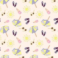 Summer vacation seamless pattern with flip flops, beach umbrella, ice cream and sunglasses. Endless texture for your summer holiday. Vector illustration in cartoon style with stroke