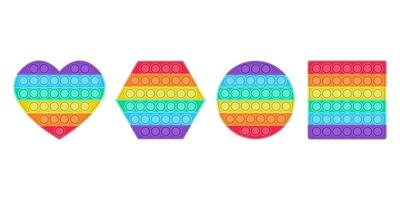 A set of bright fashion pop it fidget. Anti-stress toys of different shapes for children. Convex iridescent bubbles. Vector illustration on a white background