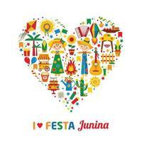 fiesta del pueblo festa junina en américa latina. iconos en corazón vector