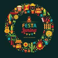Festa Junina village festival in Latin America. Icons set in wreath. vector