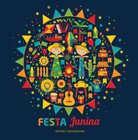 Festa Junina village festival in Latin America. Icons set in banner vector