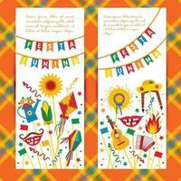 Festa Junina village festival in Latin America. Icons set in bannes vector