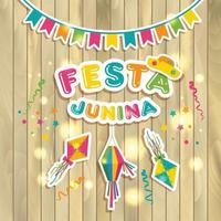 Festa Junina logotype with flags on wood texture vector