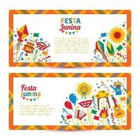 Festa Junina village festival in Latin America. Icons set in banners vector