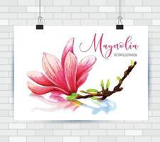 Yand Drawn sketch Flower magnolia vector
