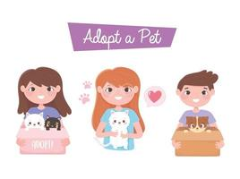 adopt a pet, happy boy and girls with dog and cat cartoon vector