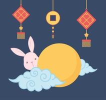 curly clouds sun rabbit and lanterns traditional oriental element decoration color design vector