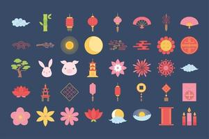 oriental element decoration include flower pagoda lamp tree lantern candles icons set color design vector