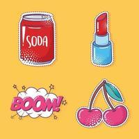 conjunto de iconos de pegatina de elemento de arte pop, refresco, cereza, lápiz labial y boom vector