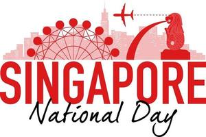 Singapore National Day banner with landmarks of Singapore vector