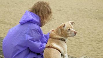 jonge vrouw met een hond op het strand bij de rivier video