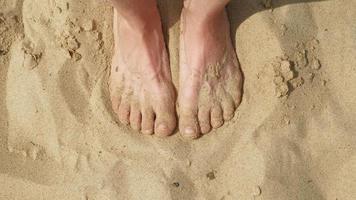 los pies están en la arena cerca del agua. playa, día soleado de verano video