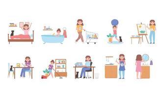 rutina diaria, escena de actividades cotidianas, ejercicio, compras, cocinar, despertarse vector