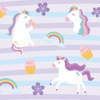 cute magical unicorns fantansy dream rainbow flowers cupcake animal cartoon background vector