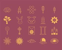 oriental element decoration include flower pagoda lamp tree lantern candles icons set line design vector