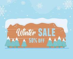 winter sale offer wooden board snow marketing icon vector