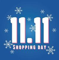 11 11 shopping day, lettering and numbers over snowflakes blue background vector