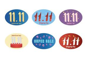 11 11 shopping day, collection of texts for special offer vector
