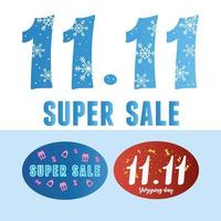 11 11 shopping day, commercial special offer, different lettering layout vector