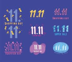 11 11 shopping day, set of promotion elements banner vector