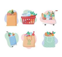 grocery purchases, set icons with basket, cart, bags with food vector
