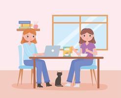 Escena de rutina diaria, mujeres con laptop y comiendo cereal en la mesa. vector