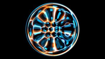 futurista carregador tecnologia visualização hexágono onda superfície digital fundo, animação laser vermelho abstrato azul com padrão de oscilação de forma de onda video