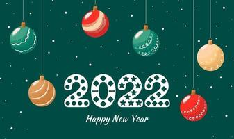 Happy new year 2022. Decorated number with Christmas balls and snow on a green background. Vector greeting card.