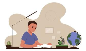 Back to school concept. The boy is sitting at a table with school supplies and studying at books. Flat vector illustration of education