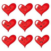 Set of funny cartoon hearts with different emotions. Vector hand-drawn illustration isolated on white background.