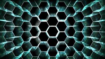 digital hexagon dimension rörande trådskydd ljus burst och centrum rör sig för att ändra position suddighet stråle ton flytande kväve bakgrund video