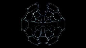 digital hexagon tråd x rullande rotation x blå digital ljuston video