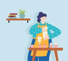 people activities, woman baking sweet cupcakes with cream vector