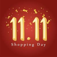 11 11 shopping day, sale discount season, red background vector